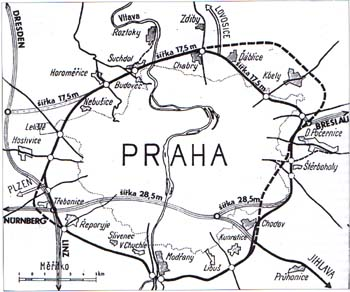 "Proposals for the route of the Prague ring road (Czech variant and German ""tangent"" solution)"