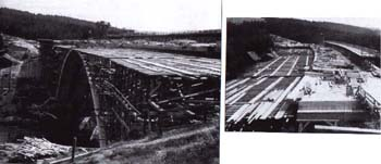 Construction of the bridge over the Želivka river valley in 1948