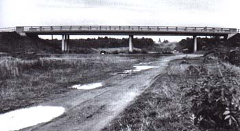 Section of the unfinished motorway near Průhonice (near Prague) in 1960's.